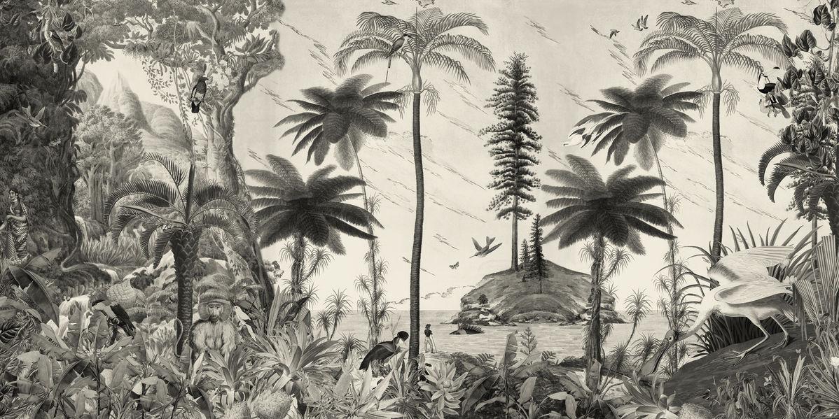 アートパネル 10cm単位でサイズオーダーできる 絵画 壁掛け インテリア 壁飾り キャンバス アート ウォール 植物 森 ジャングル トロピカル モノクロ モノトーン e320912