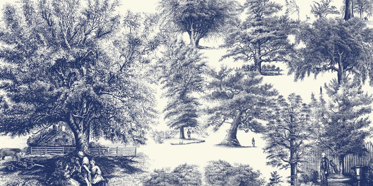アートパネル 10cm単位でサイズオーダーできる 絵画 壁掛け インテリア 壁飾り キャンバス アート ウォール 木 人物 クラシック トワレ トワル 紺 ネイビー e320913