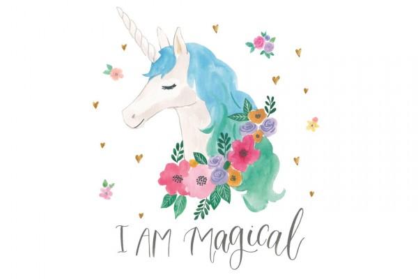 ユニコーン ゆめかわいい お花 水色の壁紙輸入 カスタム壁紙 PHOTOWALL / Magical Friends IV (