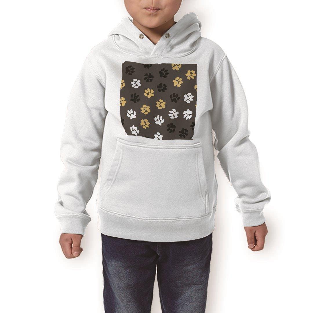 パーカー キッズ  ホワイト グレー ブラック デザイン 110 130 150 parker hooded sweatshirt フーディ 白 黒 灰色 子供 男の子 女の子 008109 黒 ブラック 足跡 模様:kabeコレ