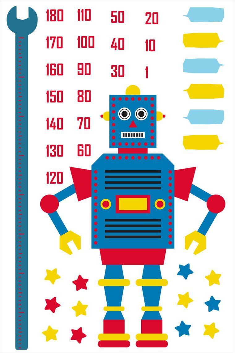 楽天市場 ウォールステッカー 身長計 メモ付き 記念 目盛り ロボット