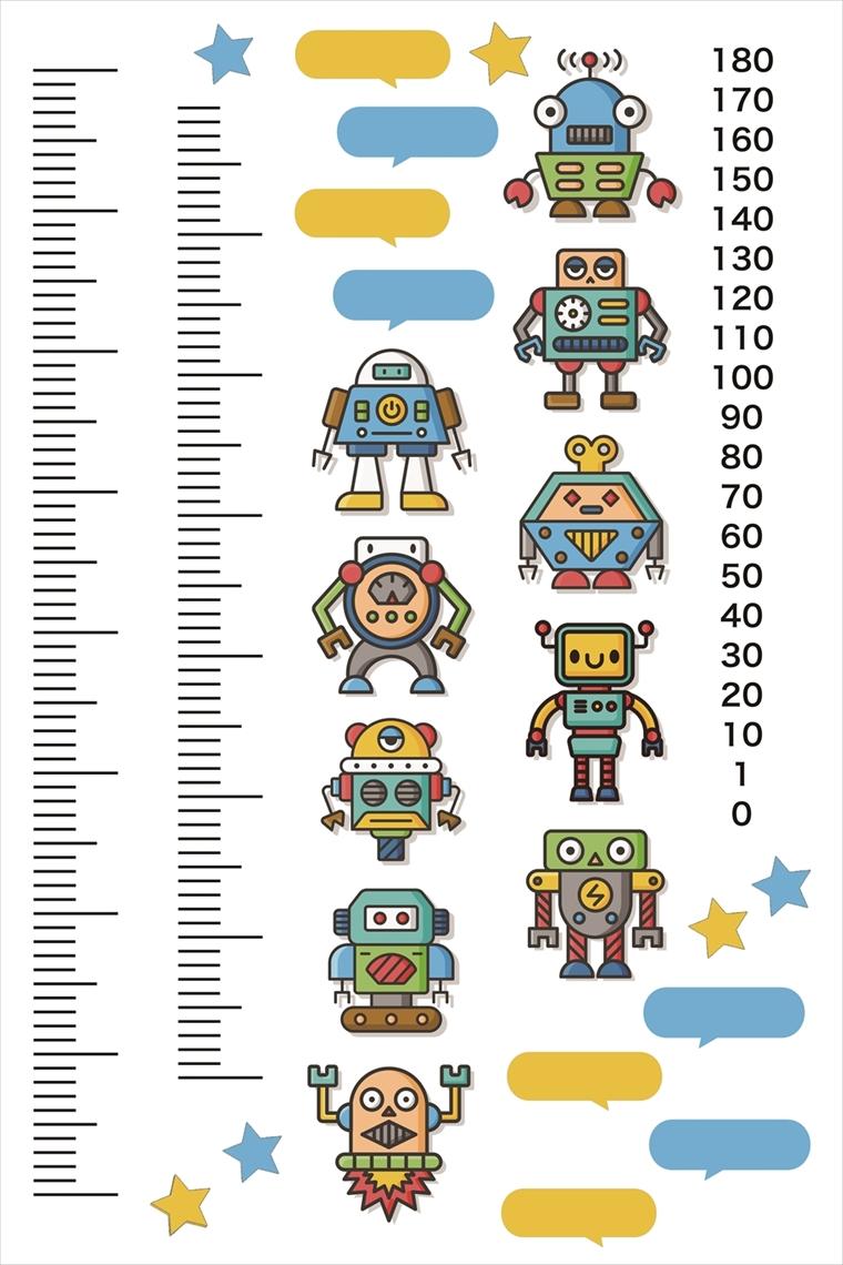 楽天市場 ウォールステッカー 身長計 記念 目盛り 子供部屋 ロボット