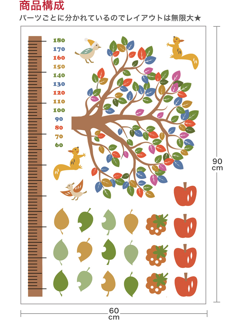 楽天市場 ウォールステッカー 身長計 記念 木 木の実 リス かわいい