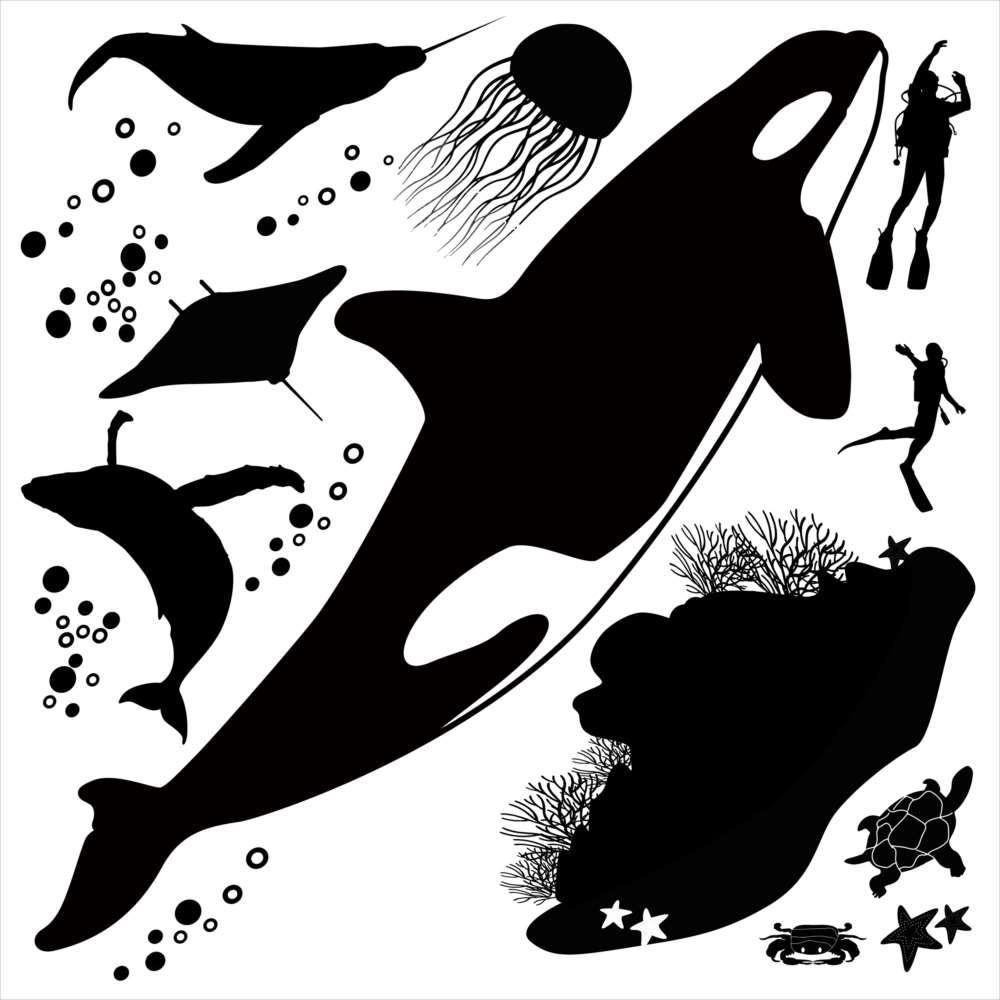 楽天市場 海の生物 シール式ウォールステッカー 魚 Fish Sea クジラ