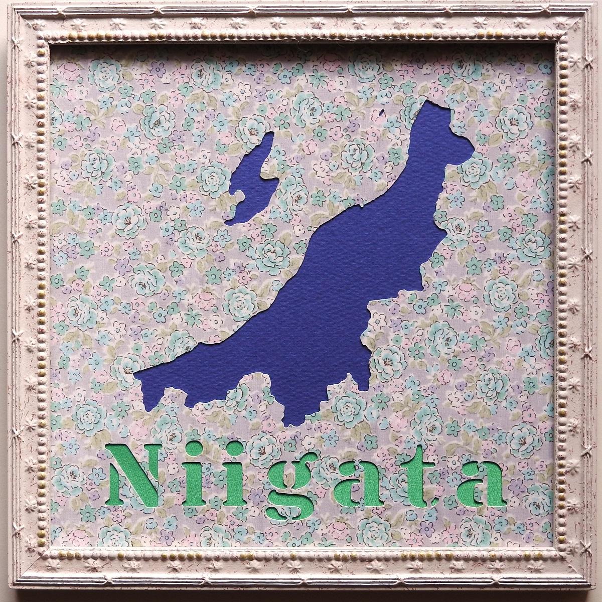 まいたけの生産量日本一!新潟県の地図をモチーフにした壁飾りです。220mmの正方形です。