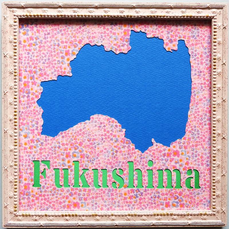 桃の消費量日本一!福島県をモチーフにした壁飾りです。220mmの正方形です。