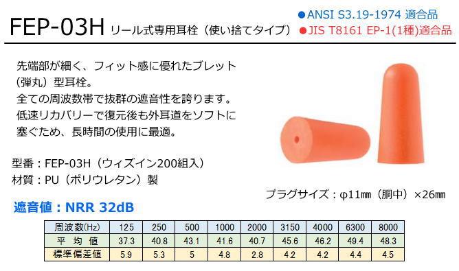 カワモト 耳栓収納コードリール用耳栓 FEP-03H (200組入り)【耳栓・防音防具・遮音対策・難聴対策・医療用】