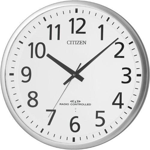【電波 掛 時計 オフィス】 シチズン CITIZEN 8MY465-019 金属枠 連続秒針 夜眠る秒針 電池交換お知らせ 日組 ユニバーサルフォント 【30%OFF】【お取り寄せ】
