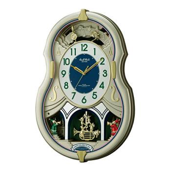 15:00迄のご注文で最短当日出荷 在庫商品に限る 卸直営 リズム時計工業 RHYTHM 電波からくり時計 4MN543RH18 30曲メロディ入り 予約販売品 スモールワールドカラーズ