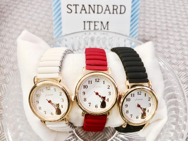 カラーねこジャバラウォッチ BL1142-BK腕時計 おしゃれ 時計 おしゃれ 腕時計 かわいい 時計 かわいい ウォッチ リストウォッチ サン・フレイム ブラック・ブラウン・アイボリー・レッド【D】【B】