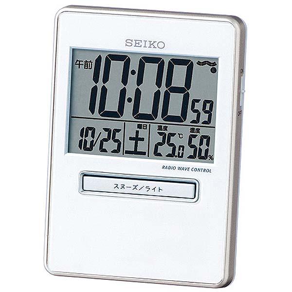 SEIKO〔セイコー〕 電波目覚し時計 SQ699W置き時計 電波 電波時計 とけい トケイ デジタル 目覚まし時計 新生活 スヌーズ機能 温度・湿度計測機能【TC】【HD】