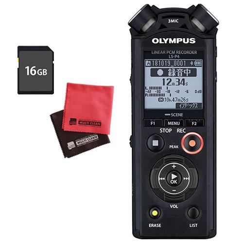 (SD16GBセット)オリンパス ICレコーダー LS-P4 ブラック(快適家電デジタルライフ)