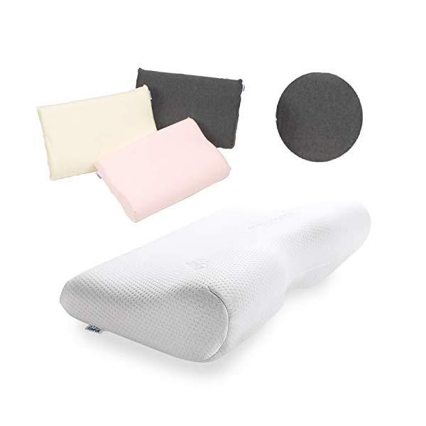 (枕&枕カバーセット) TEMPUR テンピュール ミレニアムネックピローM & スムースピローケース (グレー)(快適家電デジタルライフ)