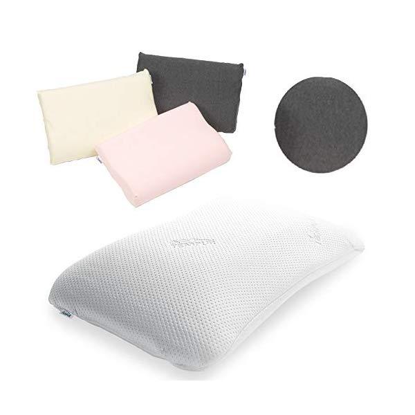 (枕&枕カバーセット) TEMPUR テンピュール シンフォニーピローM & スムースピローケース (グレー)(快適家電デジタルライフ)