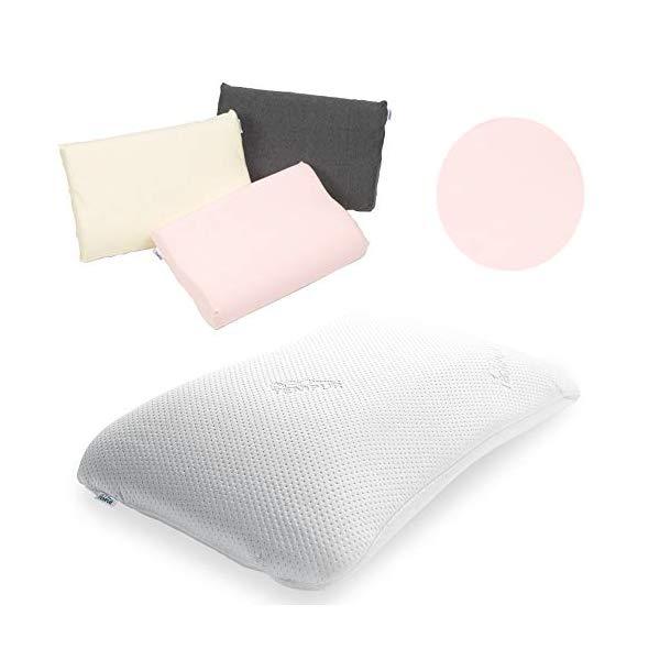 (枕&枕カバーセット) TEMPUR テンピュール シンフォニーピローL & スムースピローケース (ピンク)(快適家電デジタルライフ)