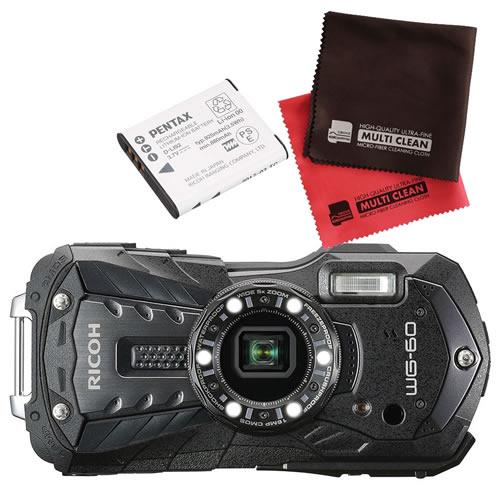 【予備バッテリーセット】 リコー RICOH WG-60 ブラック 防水・防塵・耐衝撃・防寒 デジタルカメラ(快適家電デジタルライフ)