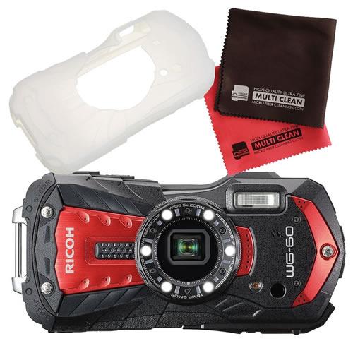 【シリコンジャケットセット】 リコー RICOH WG-60 レッド 防水・防塵・耐衝撃・防寒 デジタルカメラ(快適家電デジタルライフ)