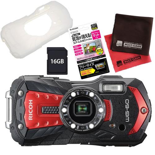 【SD16GB&シリコンジャケットセット】 リコー RICOH WG-60 レッド 防水・防塵・耐衝撃・防寒 デジタルカメラ(快適家電デジタルライフ)