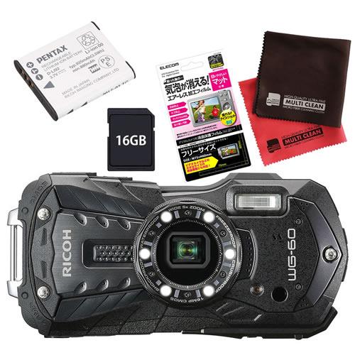 【SD16GB&ジャケット&予備バッテリーセット】 リコー RICOH WG-60 ブラック 防水・防塵・耐衝撃・防寒 デジタルカメラ(快適家電デジタルライフ)
