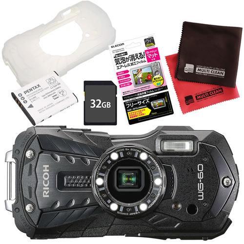 【SD32GB&ジャケット&予備バッテリーセット】 リコー RICOH WG-60 ブラック 防水・防塵・耐衝撃・防寒 デジタルカメラ(快適家電デジタルライフ)