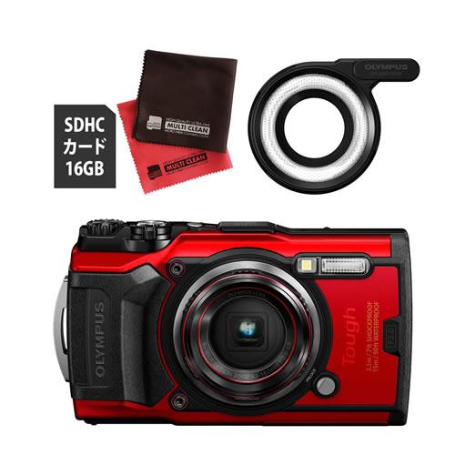 OLYMPUS オリンパス デジタルカメラ Tough TG-6 レッド (防水 防塵 耐衝撃 GPS内蔵) (SD16GB+LEDライトガイド LG-1セット)【防水カメラ】(快適家電デジタルライフ)