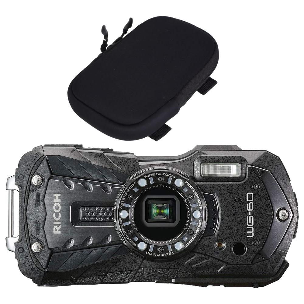 【オリジナルカメラポーチセット】 リコー RICOH WG-60 ブラック 防水・防塵・耐衝撃・防寒 デジタルカメラ(快適家電デジタルライフ)
