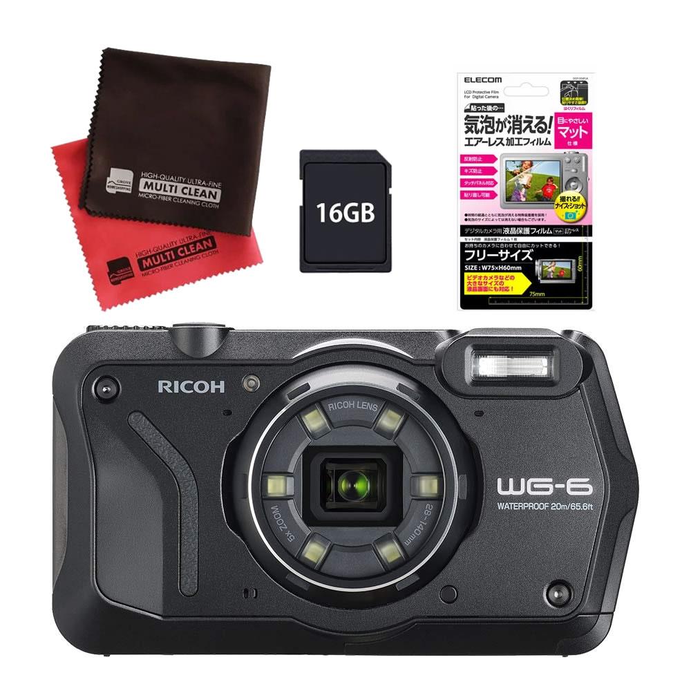 (発売未定) リコー (RICOH) 防水・防塵・耐衝撃・防寒 デジタルカメラ WG-6 ブラック (SDHCカード 16GB&液晶フィルムセット)(快適家電デジタルライフ)