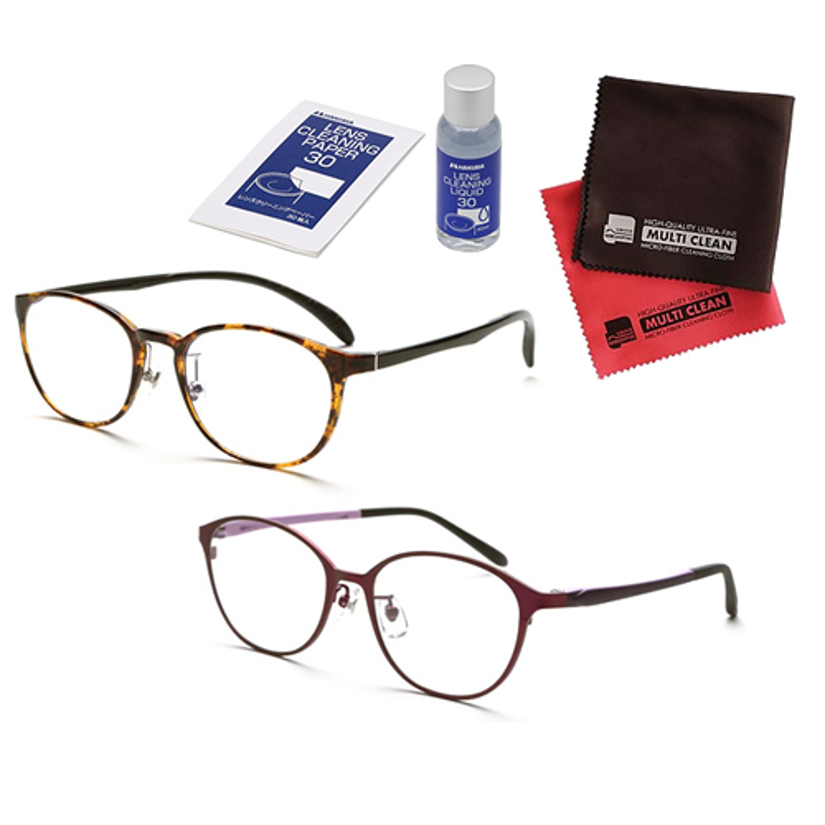 老眼鏡 ピントグラス 小松貿易 PINT GLASSES PG-809-TO&PG-708-VT 男女兼用×女性用 (老眼度数:+0.60~2.50D) (クロス&クリーナーキットセット)