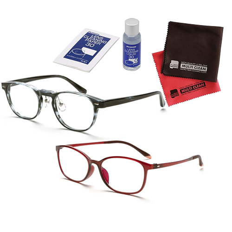 老眼鏡 ピントグラス 小松貿易 PINT GLASSES PG-807-BL&PG-707-RE 男性用×女性用 (老眼度数:+0.60~2.50D) (クロス&クリーナーキットセット)