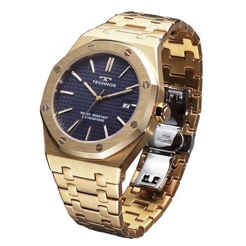 テクノス メンズ腕時計 T9539GN グランドポート(ゴールド/ブルー) 【快適家電デジタルライフ】