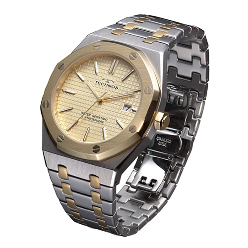 テクノス メンズ腕時計 T9539TC グランドポート(コンビ/シャンパン) 【快適家電デジタルライフ】