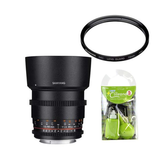 [レンズクリーナーキット&レンズフィルターセット付き]交換レンズ サムヤン VDSLR 85mm T1.5 ソニーアルフア用