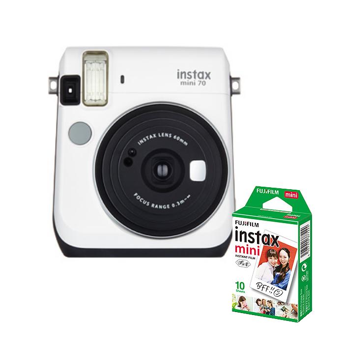 【★チェキフィルム10枚セット】フジフイルム インスタントカメラ チェキ instax mini 70N ホワイト (FUJIFILM) (快適家電デジタルライフ)