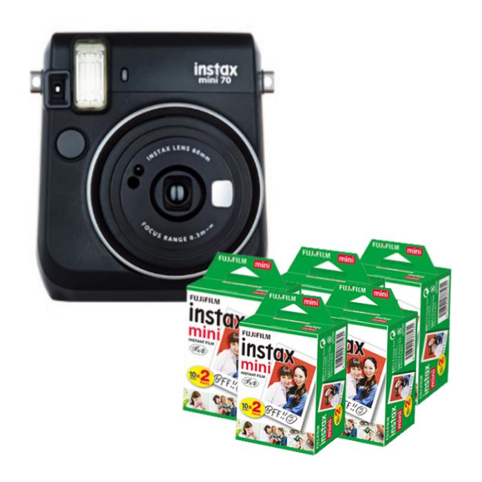 【★チェキフィルム100枚セット】フジフイルム インスタントカメラ チェキ instax mini 70N ブラック (FUJIFILM) (快適家電デジタルライフ)