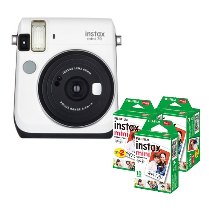 【★チェキフィルム50枚セット】フジフイルム インスタントカメラ チェキ instax mini 70N ホワイト (FUJIFILM) (快適家電デジタルライフ)