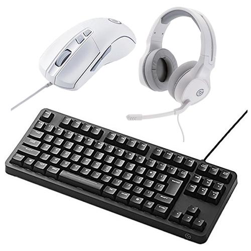 (マウス&ヘッドセット付)エレコム メカニカルゲーミングキーボード TK-G01UKBK ブラック 有線ケーブル接続タイプ (elecom) (ラッピング不可)(快適家電デジタルライフ)