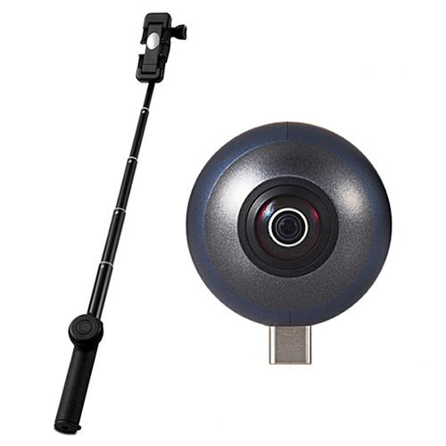 (自撮り棒付き!)エレコム スマートフォン直挿し360度カメラ OCAM-VRU01BK OMNI shot mini (オムニショットミニ) (VRカメラ)(ELECOM)(快適家電デジタルライフ)