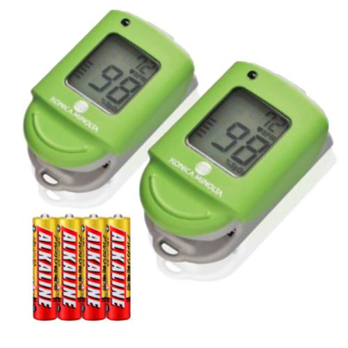 【本品2個+単4アルカリ電池4本セット】コニカミノルタ パルスオキシメータ キウイグリーン PULSOX-Lite(KONICA MINOLTA)(PULSOXLite)(快適家電デジタルライフ)