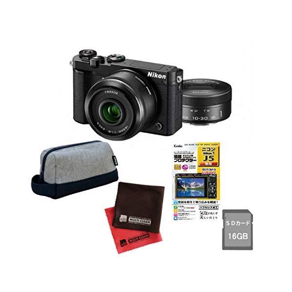 (5点セット)(ミラーレスカメラ)ニコン Nikon1 J5ダブルレンズキット N1J5WLKBK (Nikon)(快適家電デジタルライフ)