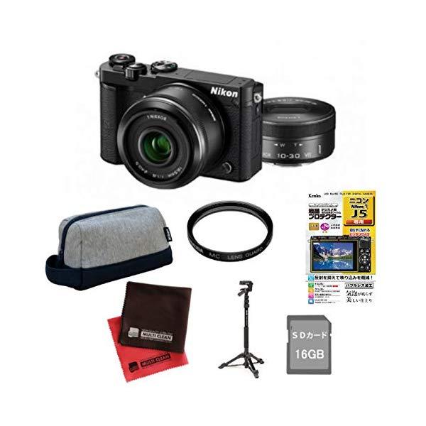 (7点セット)ニコン Nikon1 J5ダブルレンズキット N1J5WLKBK (Nikon)(快適家電デジタルライフ)