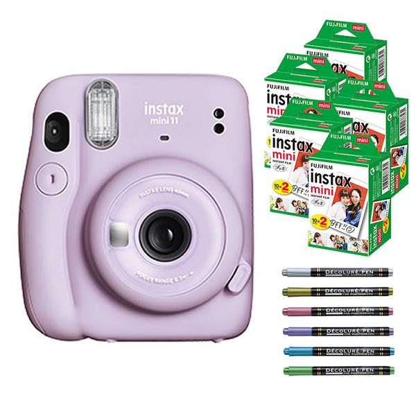 フィルム100枚 デコレールペン付 チェキ インスタックスミニ インスタントカメラ 1着でも送料無料 富士フイルム 最新アイテム mini 快適家電デジタルライフ FUJIFILM instax 11 ライラックパープル