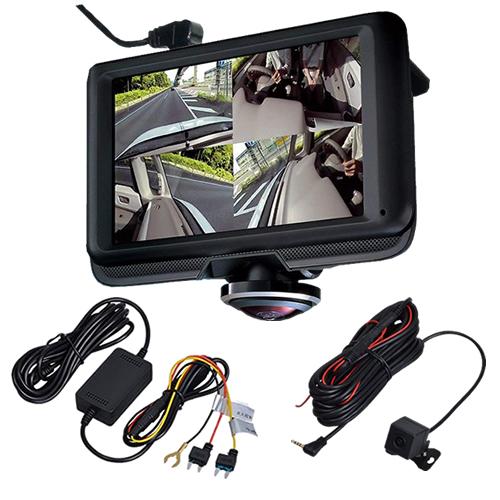 (常時接続ケーブル&リアカメラ付き)セイワ 360EYEドライブレコーダー PDR600SV Gセンサー 2カメラセット (PDR002/PDR007)(SEIWA) (快適家電デジタルライフ)