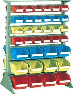 【代引不可】【メーカー直送】 TRUSCO トラスコ中山 【工場用保管設備】 両面重量コンテナラック H1265 T2X48 T5X24 U1234W (5018773)【ラッピング不可】