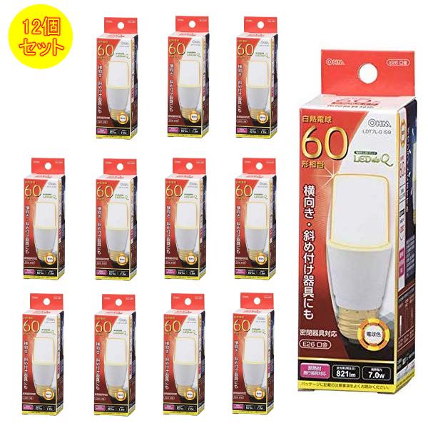 【12本セット】オーム電機 LED電球 LDT7L-G IS9 (06-0231) [60W形相当/E26][電球色]【快適家電デジタルライフ】