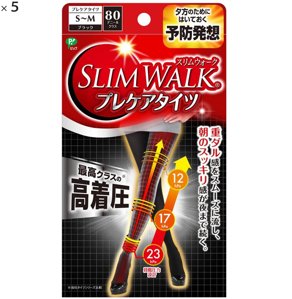 (5点セット)ピップ スリムウォーク (SLIM WALK) プレケアタイツ S~Mサイズ ブラック おそと用 着圧 (ラッピング不可)(快適家電デジタルライフ)