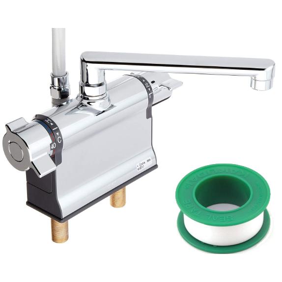 (セット)(混合水栓) KVK KF3011T +(シールテープ) カクダイ 5m 9630 (8072853) (ラッピング不可)(快適家電デジタルライフ)