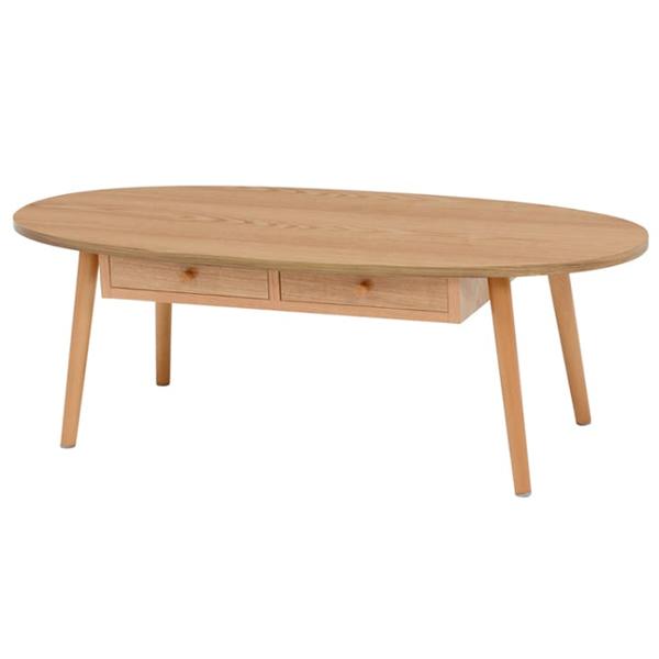 折りたたみテーブル センターテーブル 引き出し付き 楕円 丸型 ナチュラル 約110×48cm 高さ:約37cm MT-6352NA 萩原株式会社(メーカー直送)(ラッピング不可)(快適家電デジタルライフ)