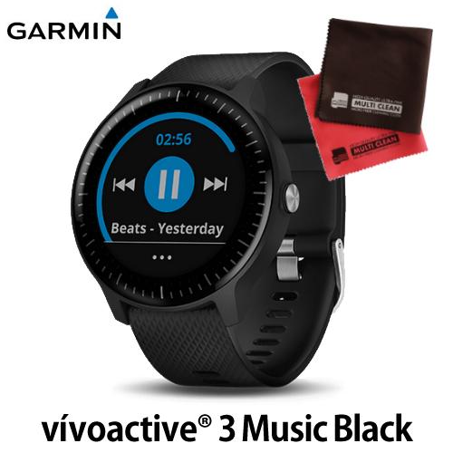 GARMIN (ガーミン) GPS内蔵 スマートウォッチ 010-01985-23(国内正規品)vivoactive3 Music Black オリジナルクロスセット(快適家電デジタルライフ)