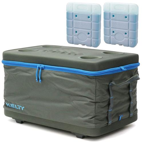 KELTY(ケルティ)FOLDING COOLER LARGE(フォールディング・クーラー・ラージ)&時短凍結スーパーコールドパック UE-3007(Lサイズ)2個入りの3点セット(55Lクーラーボックス)(ラッピング不可)(快適家電デジタルライフ)