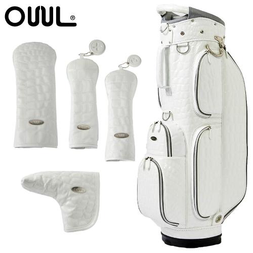 OUUL(オウル) Alligator 5WAY CART BAG(AL8ACT-1 WHITE)ヘッド&パターカバー 5点セット (カートバッグ/キャディバッグ)(ラッピング不可)(快適家電デジタルライフ)